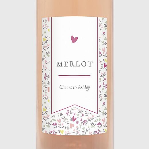 Christening Wine Labels Liberty heart purple - View 2