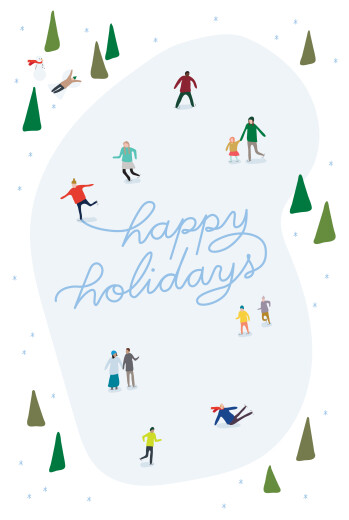 Business Christmas Cards Little ice dancers (4 pages) blue