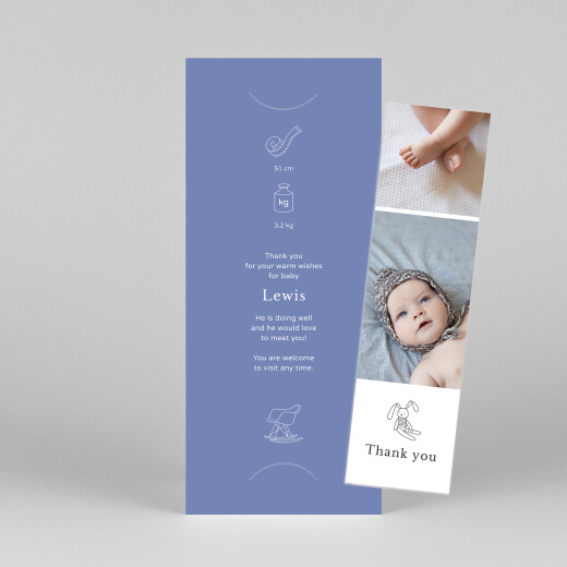 Baby Thank You Cards My story (bookmark) blue - View 1