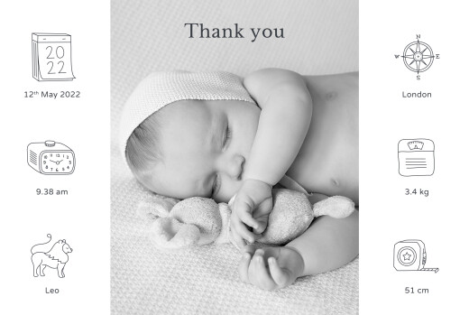 Baby Thank You Cards My story white