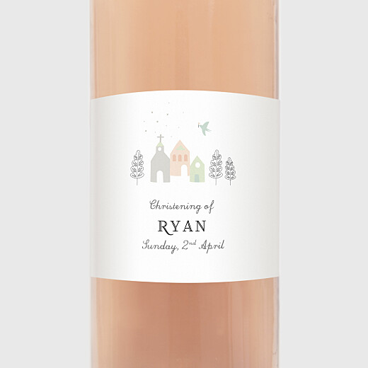 Christening Wine Labels Village chapel pink - View 2