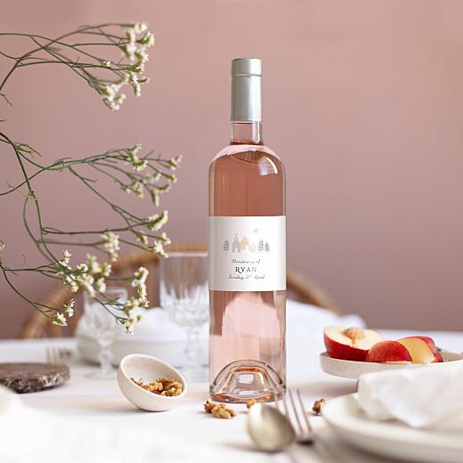 Christening Wine Labels Village chapel pink - View 1