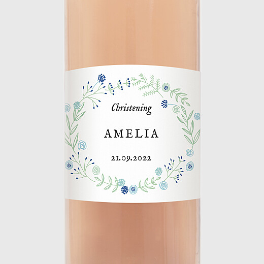 Christening Wine Labels Rustic floral blue - View 2