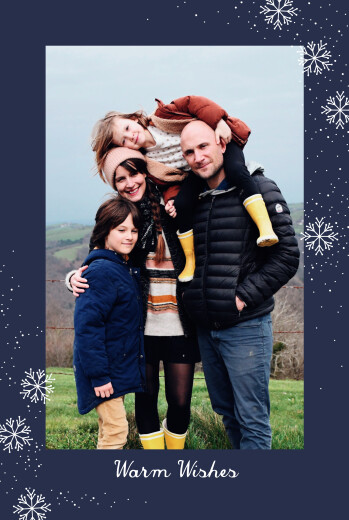 Christmas Cards Snowflake flurry blue