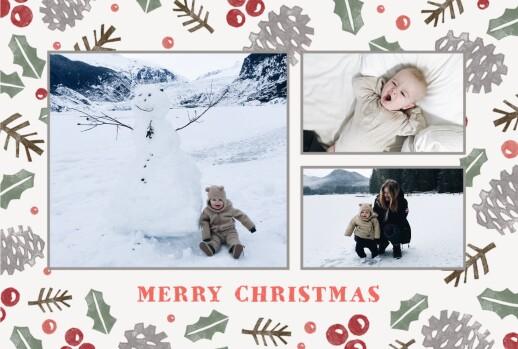 Christmas Cards Holly & pine (landscape) cream