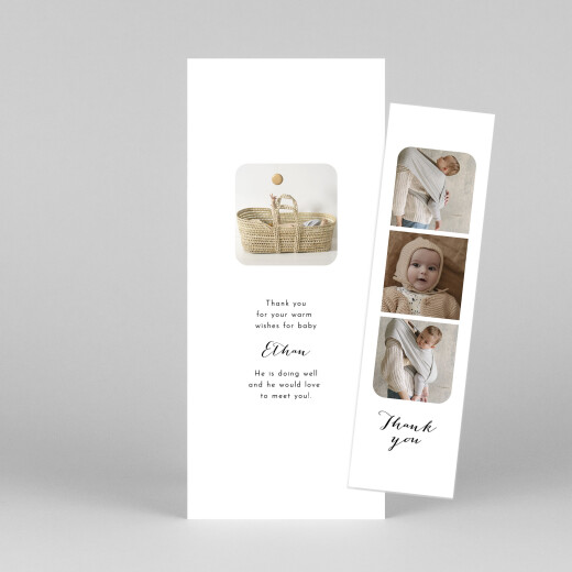 Baby Thank You Cards Tender moments (bookmark) white - View 1