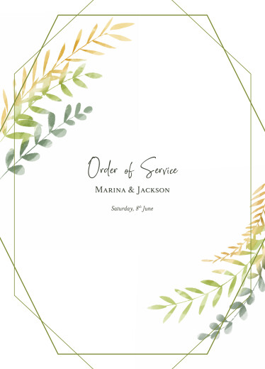 Wedding Order of Service Booklets Enchanted green