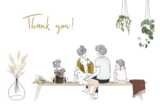 宝贝感谢卡绿色家庭风景白色