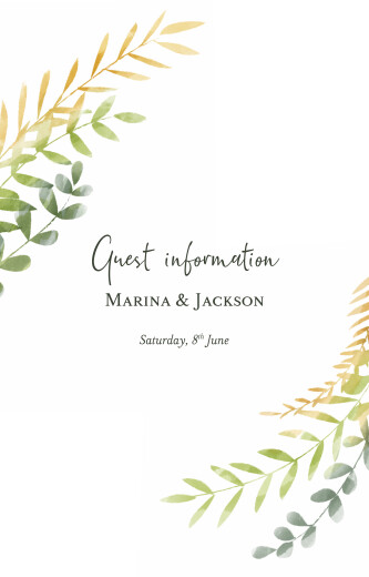 Guest Information Cards Enchanted (portrait) green