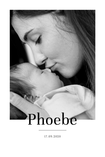Baby Announcements Modern chic portrait white