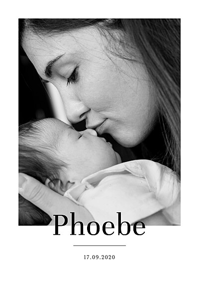 Baby Announcements Modern chic portrait white finition