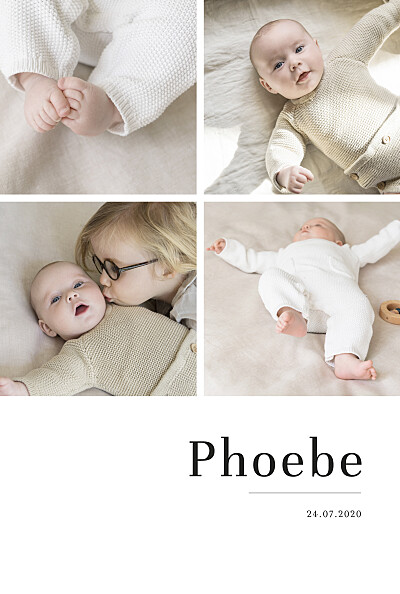 Baby Announcements Modern chic 4 photos white finition
