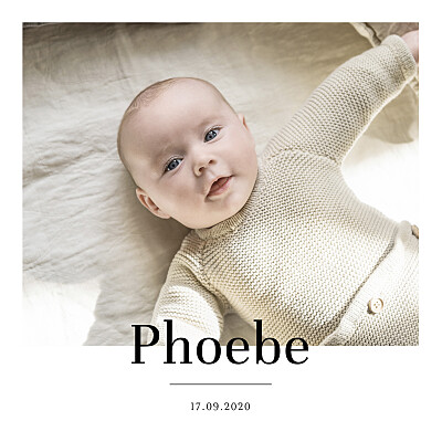 Baby Announcements Modern chic white finition