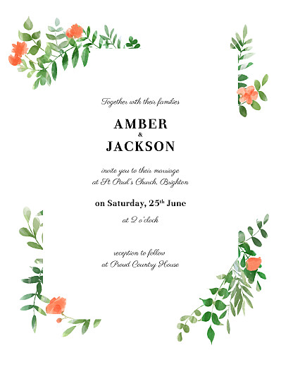Wedding Invitations Cascading canopy (portrait) red