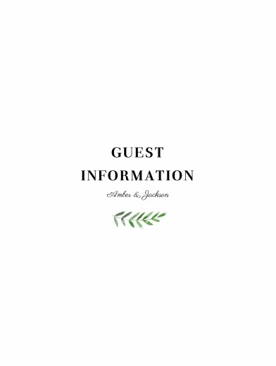 Guest Information Cards Cascading canopy green
