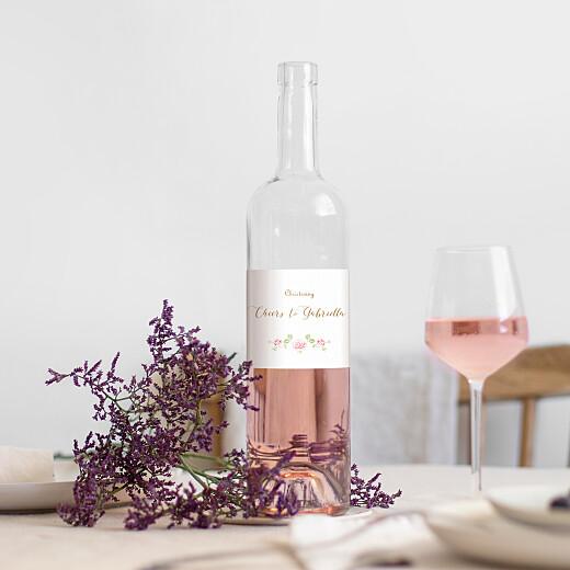 Christening Wine Labels Rose garden white - View 1